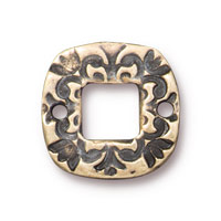 Square Flora Link 15mm Pewter Brass Oxide (1-Pc)