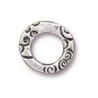 ½ Inch Antique Pewter Flora Ring Link (1-Pc)