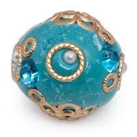 26mm Turquoise & Gold Mongolian Resin Bead (1-Pc)
