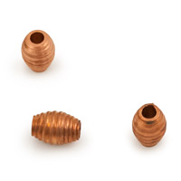 Copper Corrugated Oval Bead 7x5mm (10-Pcs)