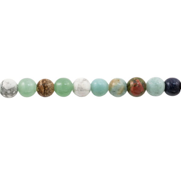 10mm Mixed Stone Round Large Hole Bead (16 inch Strand ...