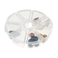 8-Compartment Clear Plastic Round Jewelry Organizer