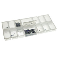 14-Compartment Clear Plastic Rectangular Jewelry Organizer