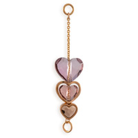 Swarovski Crystal 3 Heart Dangle Multi Color 45mm Rose Gold Plated (1-Pc)