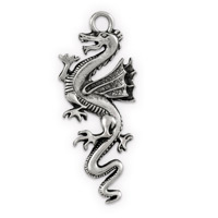 Dragon Pendant 20x49mm Antique Silver Plated (1-Pc)