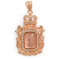 Victorian Rectangle Rose Gold Plated Pendant 60x33mm (1-Pc)