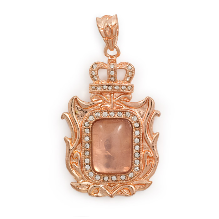 Victorian Rectangle Rose Gold Plated Pendant 60x33mm Base
