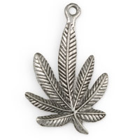 34mm Antique Silver Plated Marijuana Leaf Pewter Pendant (1-Pc)