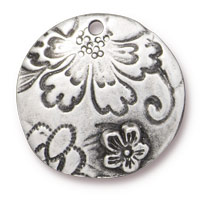 22mm Antique Pewter Round Flora Pendant (1-Pc)