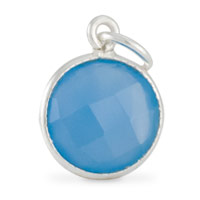 Round Pendant Faceted Blue Onyx Sterling Silver 11mm (1-Pc)