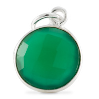 Round Pendant Faceted Green Onyx Sterling Silver 11mm (1-Pc)