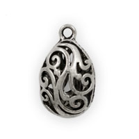 Teardrop Puff Pewter Filigree 21x12mm (1-Pc)