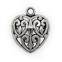 27x22mm Puffy Pewter Heart Pendant (1-Pc)