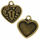 Victorian Heart Picture Frame 19mm Pewter Antique Brass Plated (1-Pc)