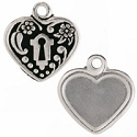 Victorian Heart Picture Frame 19mm Pewter Antique Silver Plated (1-Pc)