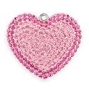 Swarovski Pave Heart Pendant 67412 26mm Rose  (1-Pc)