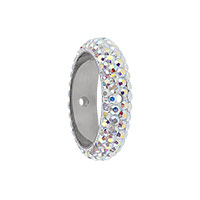Swarovski 85001 BeCharmed Pavé Two Hole Ring 14.5x4.5mm Crystal AB (1-Pc)
