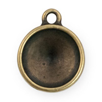 14mm 1 Loop Pewter Rivoli Setting Brass Oxide (1-Pc)