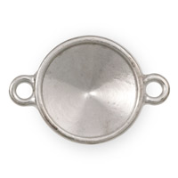 14mm 2 Loop Pewter Rivoli Setting Bright Silver Plated (1-Pc)