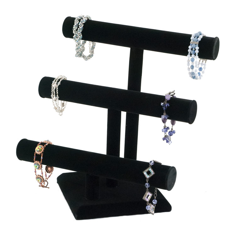 T Bar Triple Black Velvet 3 Tier Bracelet Display Stand