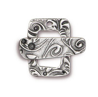 15mm Antique Pewter Flora Clasp (Set of 2)