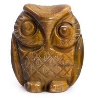 25x21mm Tiger Eye Carved Owl Bead (1-Pc)