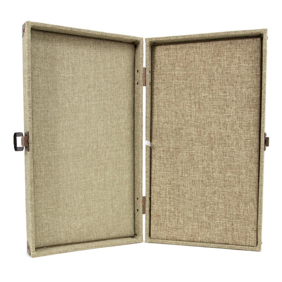 Burlap Jewelry Display Case With Pad Insert