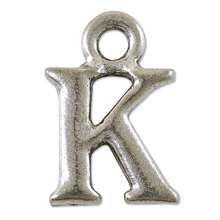 k initial charm 16x11mm pewter antique silver plated