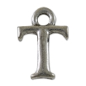 T Initial Charm 16x11mm Pewter Antique Silver Plated