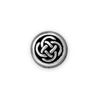 7x3mm Antique Silver Plated Pewter Celtic Circle Bead (1-Pc)