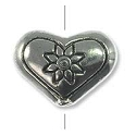 11x15mm Pewter Flower Heart Bead (1-Pc)