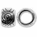 Large Hole Bead 7x10mm Pewter Antique Silver Plated (2-Pcs)