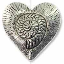 30x31mm Pewter Coiled Heart Bead  (1-Pc)