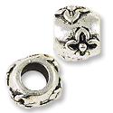 Large Hole Metal Bead with Flowers 9x8mm Pewter Antique Silver Plated (1-Pc)