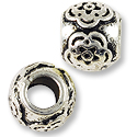 Large Hole Metal Bead with Star 11x9mm Pewter Antique Silver Plated (1-Pc)