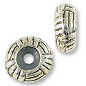 Bead Stopper Woven 10x5mm Pewter Antique Silver Plated (1-Pc)