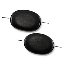 Cara Horn Beads Flat Oval 18x13mm Black  (2-Pcs)