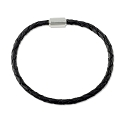 Braided Leather Bracelet 4mm Black with Stainless Steel Magnetic Twist Clasp 7