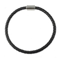 Braided Rubber Bracelet 4mm Black with Stainless Steel Magnetic Twist Clasp 7