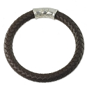 Braided Rubber Bracelet 8mm Brown with Sterling Silver Safety Catch 8