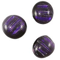 Dichroic Glass Free Form Oval Cabochon 14x12mm Dark Purple Stripes (1-Pc)