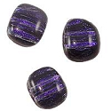 Dichroic Glass Free Form Rectangle Cabochon 11-12mm Dark Purple Stripes (1-Pc)