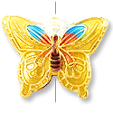 Machine Made Cloisonne Butterfly Bead 20x15mm Yellow (1-Pc)