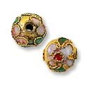 Machine Made Cloisonne Bead 8mm Brass/Pink/Green (2-Pcs)