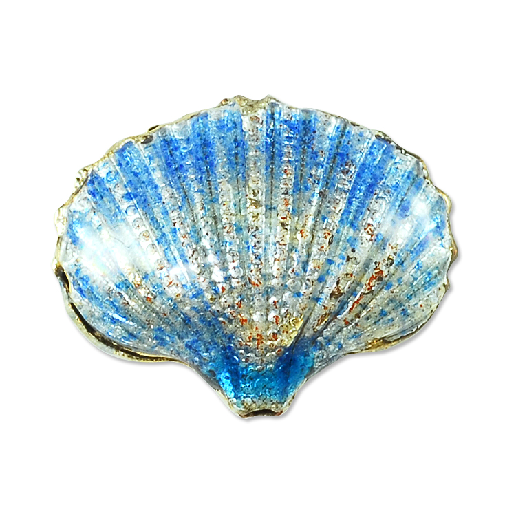 Unique Beaded Periwinkle Seashell Coloring Page: Handmade Seashell Bead 20x16mm Light Blue (1-Pc