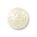 Czech Pressed Glass Button Bead 13mm Pearl White (1-Pc)