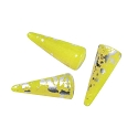 Czech Glass Spike Bead 13x5.5 Chartreuse with Silver Foil (3-Pcs)