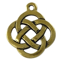Celtic Open Weave Round Pendant 29mm Pewter Antique Gold Plated