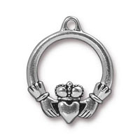 Claddagh Charm 19mm Pewter Antique Silver Plated