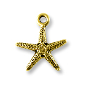Charm - Starfish 16x18mm Pewter Antique Gold Plated (1-Pc)